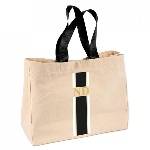 "NISAWI Shopper ""Black/White Stripes"" natur"