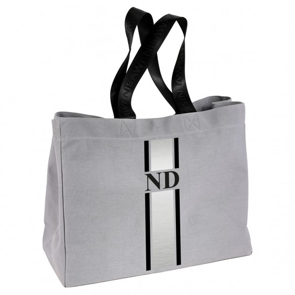 """NISAWI Shopper """"Black/Silver Stripes"""""""