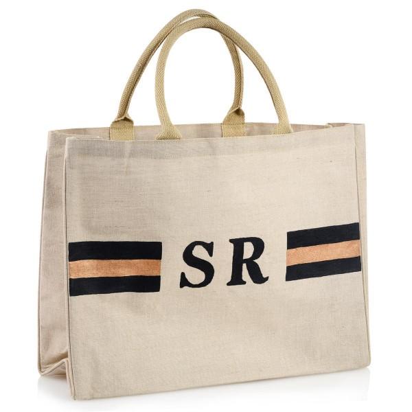 """Shopper """"Stripes Blau / Kupfer"""""""