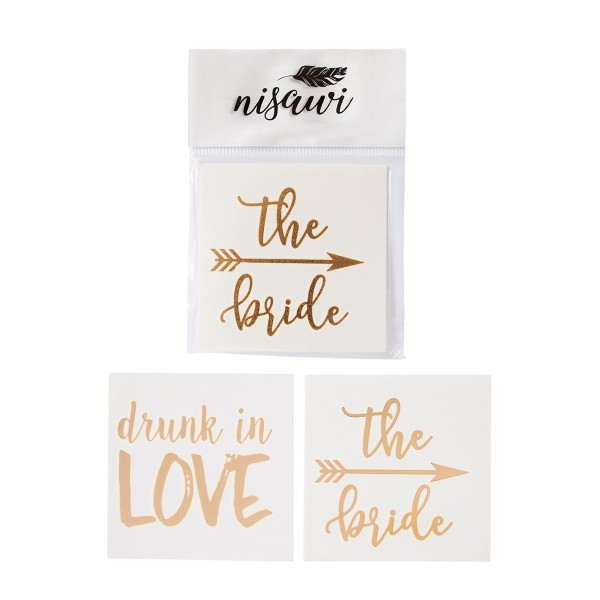 "Flash-Tattoo-Set ""Bride & Drunk in Love"" (10 Stk.)"