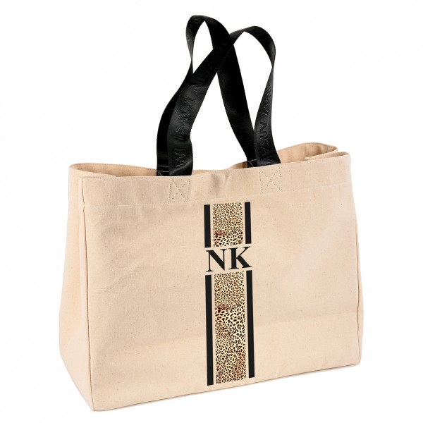 "NISAWI Shopper ""Black/Leo Stripes"" natur"
