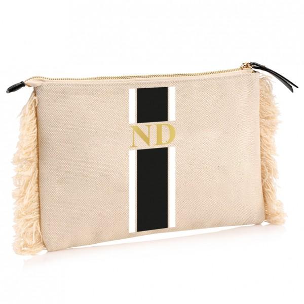 "NISAWI Clutch ""Stripes Black/White"" natur"