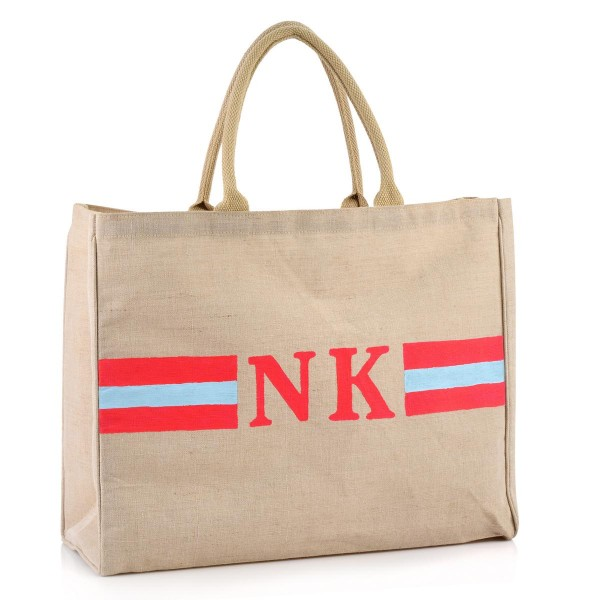 "Shopper ""Stripes Neonpink / Hellblau"""