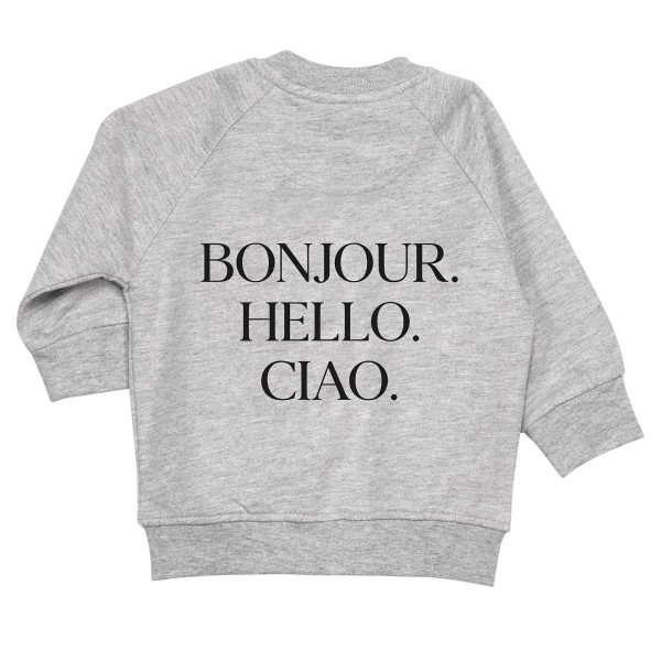 """Baby/Kids Hoodie """"Bonjour. Hello. Ciao."""""""