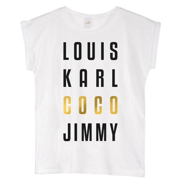 """T-Shirt """"Louis Karl Coco Jimmy"""" white"""
